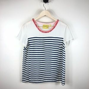 Maeve Collar Shine Striped Top Blouse Size Small